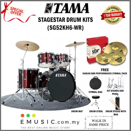 Tama Stagestar SG52KH6 5-Piece Complete Drum Set With Sabian SBR Cymbal Set, Drumsticks And Throne, Wine Red
