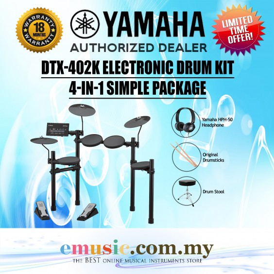 Yamaha DTX402K Electronic Drum Kit Simple Package (DTX402 / DTX-402K / DTX402-K)