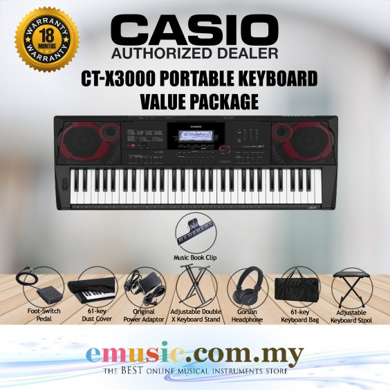 Casio CT-X3000 61-key Portable Keyboard Value Package (CTX3000 / CTX-3000)
