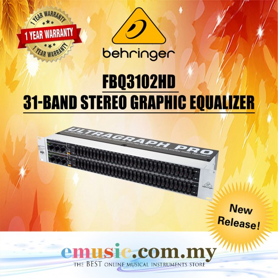 Behringer FBQ3102HD Ultragraph Pro 31-Band Stereo Graphic Equalizers (FBQ3102)