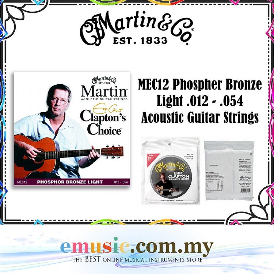 Martin & Co. MEC12 Phospher Bronze Light .012 - .054 Acoustic Guitar Strings