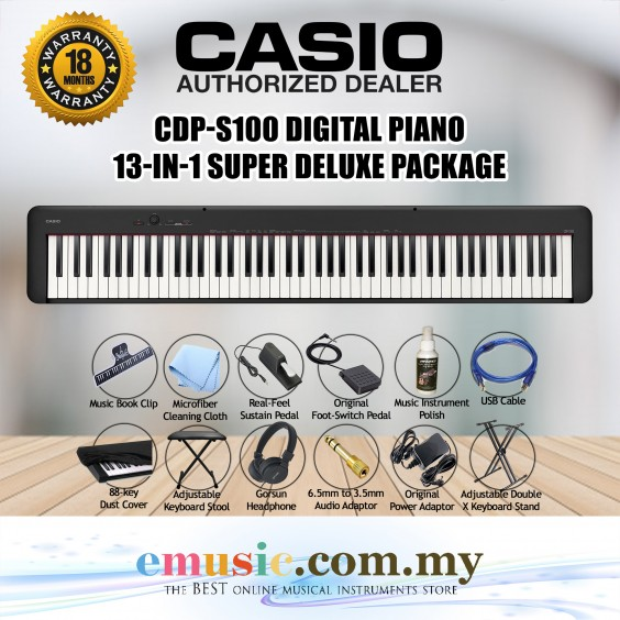 Casio CDP-S100 Digital Piano 13-in-1 Super Deluxe Package (CDPS100 / CDP S100)