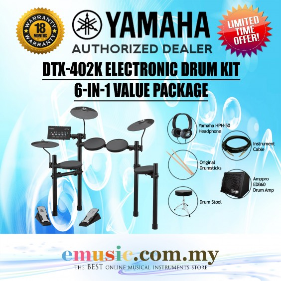 Yamaha DTX402K Electronic Drum Kit Value Package (DTX402 / DTX-402K / DTX402-K)