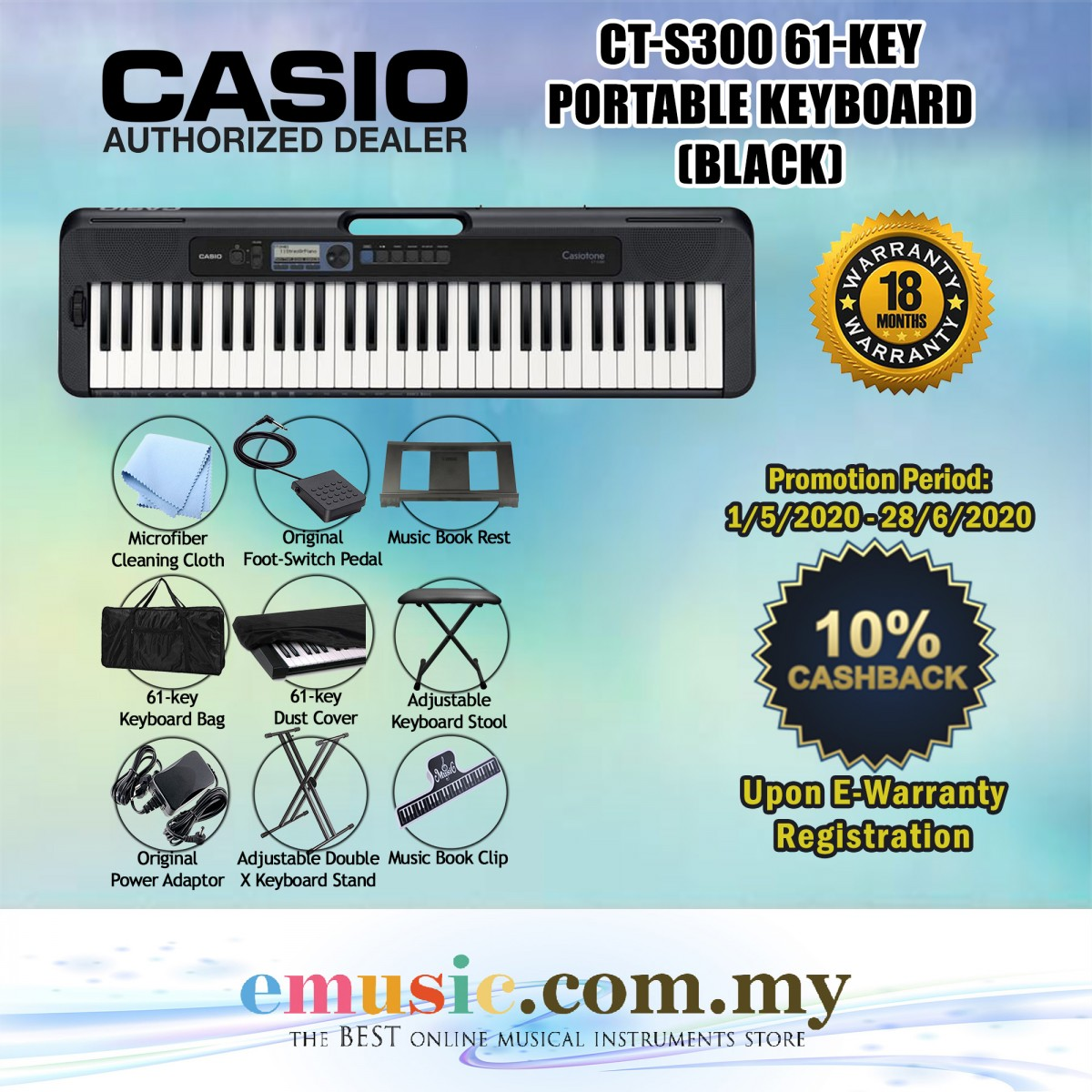 Casio CT-S300 61-key Portable Keyboard Basic Package (Casiotone / CTS300)