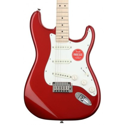 Squier Standard Stratocaster Electric Guitar, Maple FingerBoard, Candy Apple Red