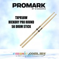 Promark TXPR5BW Pro-Round Hickory 5B Drumsticks, Wood Tip