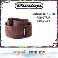 Jim Dunlop D07-01 Brown Colour Poly Guitar Strap