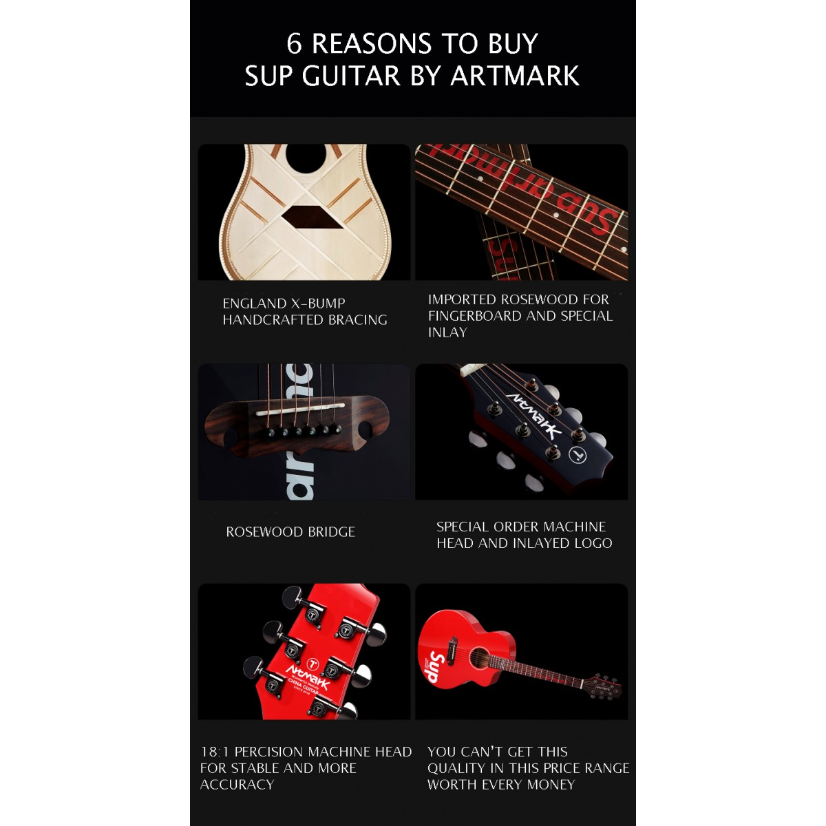 Supreme Acoustic Guitar - Best Beginner Guitar by Artmark comes with GigBag