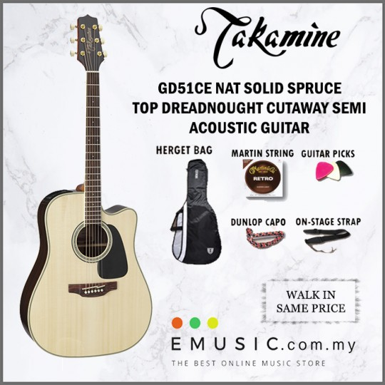 Takamine GD51CE NAT Dreadnought Solid Spruce Top Cutaway Semi Acoustic Guitar with Free Strings Picks Capo Strap Bag